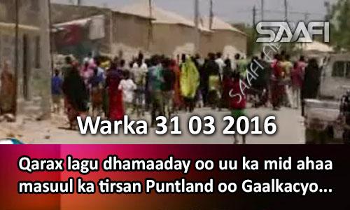 Photo of Warka 31 03 2016 Qarax lagu dhamaaday oo uu ka mid ahaa masuul ka tirsan Puntland oo Gaalkacyo ka dhacay.