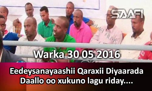 Photo of Warka 30 05 2016 Eedeysanayaashii qaraaxii diyaarada Daallo oo xukuno lagu riday.