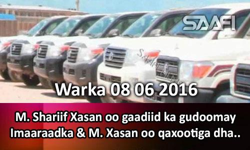 Photo of Warka 08 06 2016 Madaxweyne Shariif Xasan oo gaadiid ka gudoomay Imraadka & M. Xasan oo qaxootiga.