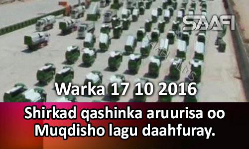 Photo of Warka 17 10 2016 Shirkad qashinka aruurisa oo Muqdisho lagu daahfuray.