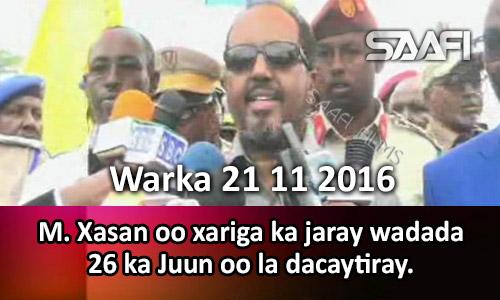 Photo of Warka 21 11 2016 M. Xasan oo xariga ka jaray wadada 26-ka Juun oo dhawaan la…