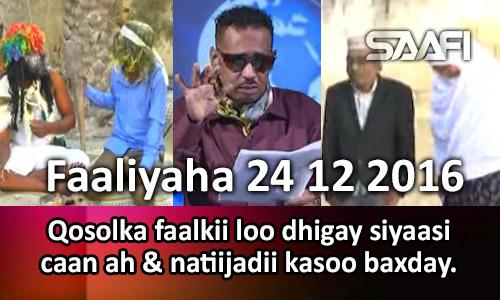 Photo of Faaliyaha 24 12 2016 Qosolka faalkii loo dhigay siyaasi caan ah & natiijadii kasoo baxday.