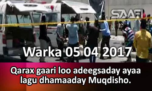 Photo of Warka 05 04 2017 Qarax gaari loo adeegsaday ayaa lagu dhamaaday Muqdisho.