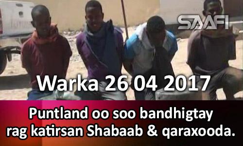 Photo of Warka 26 04 2017 Puntland oo soo bandhigtay rag katirsan Shabaab & qaraxooda.