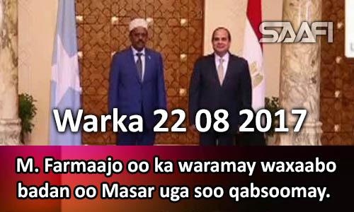 Photo of Warka 22 08 2017 M. Farmaajo oo ka hadlay waxyaabo badan oo uga soo qabsoomay Masar.