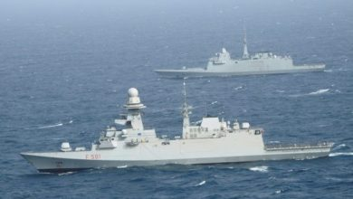 Photo of French and EU NAVFOR Warships Exercise at Sea off the Coast of Somalia