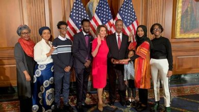 Photo of Young Muslims Celebrate with First Somali-American in Congress