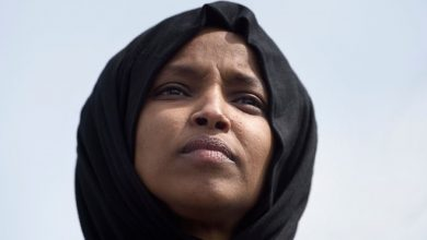 Photo of Protesters rally against Ilhan Omar during her speech at LA event
