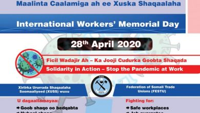 Photo of Somali Workers In Urgent Need Of Protection From Unsafe Working Conditions And Infectious Disease, Says FESTU